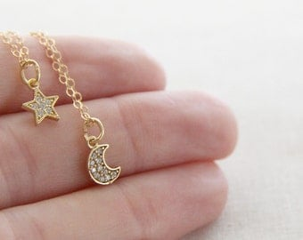 Moon and Star Necklace Set  | Gold Layered Necklace Set