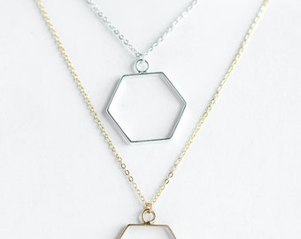 Open Hexagon Necklace | Silver Plated | Gold Plated | N31626-S,G