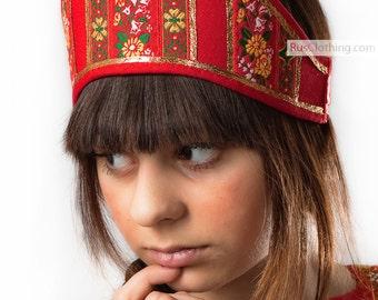 Kokoshnik headpiece, Russian kokoshnik red, russian traditional, russian women hat, russian traditional hats, russian tiara, russian crown