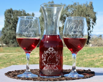 Wedding Unity Candle Unity Ceremony Alternative Wine Unity Set of Personalized Etched Glasses and Wine Carafe