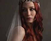 Silver wedding headpiece, bridal veil, boho crown, long wedding veil, medieval crown, wedding headdress, hair accessories - Lady of the Lake