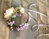 Wildflower headband, boho floral crown, blush bridal headpiece, purple flower crown, hair accessories