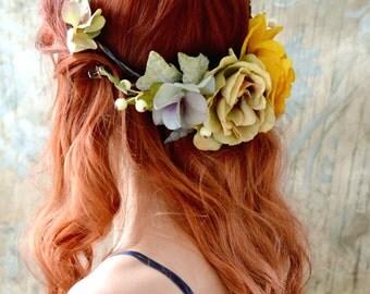 Rustic flower circlet, fall hair accessories, floral circlet, whimsical flower crown, bohemian headpiece, woodland hair wreath