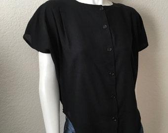 Vintage Women's 80's Cropped Blouse, Black, Cap Sleeve by Stoplight (M)