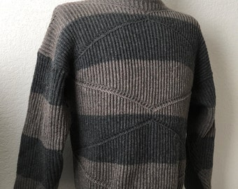 Vintage Men's 70's Angels Flight, Wool Blend, Striped Sweater, Long Sleeve (XL)