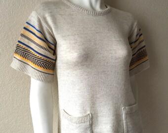 Vintage Women's 70's Boho, Knit Sweater, Oatmeal, Short Sleeve, Striped (S)