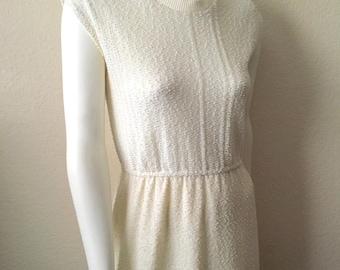 Vintage Women's 70's Knit Dress, Cream, Sleeveless, Knee Length (M)