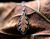 Oak Leaf Necklace - Sterling Silver Necklace - Copper Necklace - White Oak - Ready to Ship - Unique Gift - Outdoors
