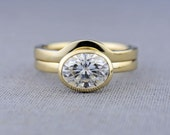 Oval Moissanite Engagement Ring | Shadow Band Available | 14K Gold Window Bezel Engagement Ring