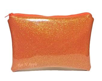 Orange Glitter Vinyl Zipper Pouch - Cosmetic Purse - Makeup Bag - Fully Lined zipper Pouch