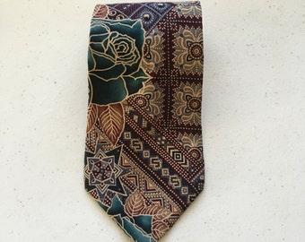 PIERRE CARDIN Necktie - Men's Colorful Floral Textile Print Wide Tie, Designer Vintage
