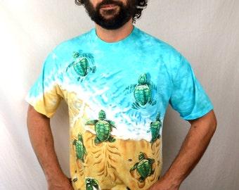 Vintage 90s Tie Dye Liquid Blue Sea Turtle Tee Shirt Shirt