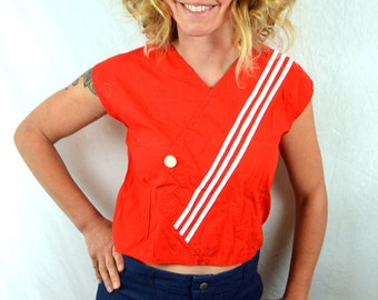 Vintage 1980s Cute Red White Striped Party Cropped Top