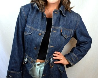 Vintage 70s Orange Tag Levis Dark Wash Blazer Jacket Coat