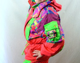 KIDS SIZE Vintage 1980s Neon One Piece Ski Snow Suit Bibs Overalls and Matching Parka Jacket - ELLESSE Italy