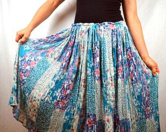 Vintage Floral Hippie Gauzy Cotton Broom Skirt