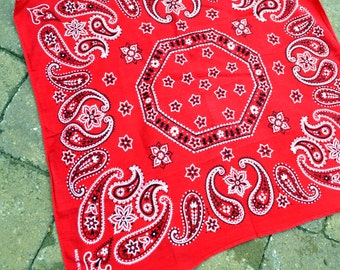Vintage Fast Color Red Bandana Kerchief - Elephant Trunk Up