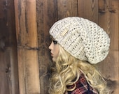 Crochet Ribbed Brim Slouchy Slouch Crochet Beanie Hipster Hat - ||DEEP WOODS|| - BIRCH