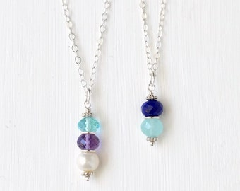 Sterling Silver Mothers Necklace / Mothers Birthstone Necklace / Multiple Birthstone Necklace / Mothers Pendant / Mothers Day Gifts