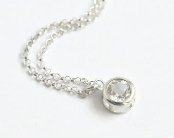 Sterling Silver White Topaz Necklace / Small Round Clear Gemstone Pendant / April Birthstone Necklace / Colorless Gem Necklace