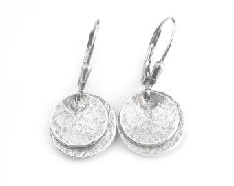 Disc Earrings - Oxidized Silver Earrings - Rustic Silver Earrings - Double Dish Dangles - Artisan Earrings (ES-WDCV2-LV)