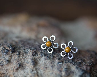 Handmade Small Silver Flower Stud Earrings, tiny mustard yellow mookaite jasper bead, antique sterling silver wire, romantic chic studs