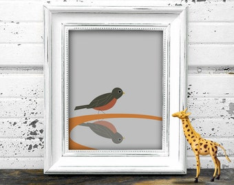 Robin in Bird Bath Modern Art Printable - Instant Download 8x10
