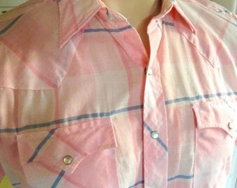 1980s pearl snap western shirt short sleeve shirt - pink size medium