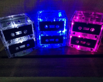 LOT OF 10: Cassette tape centerpiece, cassette centerpiece, lamp or nightlight. 80's/90's themed event- Buy 9, Get 1 Free!!!