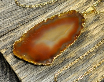 Agate Necklace, Agate Pendant, Rust Red Agate Jewelry, Rust Red Agate Pendant, Agate Slice Necklace, Gold Necklace, 14k Gold Fill Chain