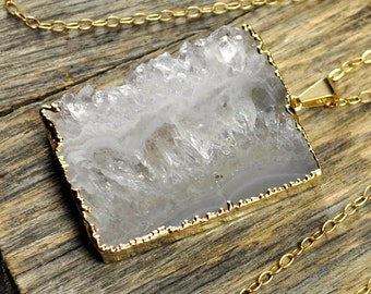 Amethyst Necklace, Amethyst Pendant, Amethyst Slice Necklace, Amethyst Gold Necklace, Amethyst Rectangle Necklace, 14k Gold Fill Chain