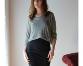 sheer linen cropped sweater with metallic sparkle in lightweight jersey - MICA lounge wear range - made to order
