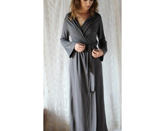 long wool robe in washable merino jersey - made to order - MERINO II sleepwear range