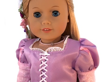 Rapunzel Tangled inspired 18 inch Doll with Blonde Hair and Blue eyes Re wigged American Girl Doll