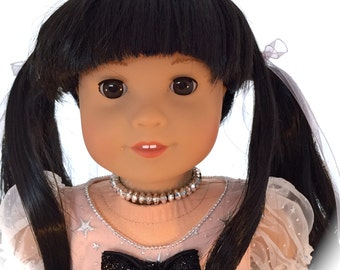 New 18 Inch Doll with Amazing Long Black Hair in Pig Tails Former American Girl Doll re wigged