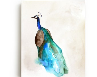 Peacock Canvas Print - Large Wall Art - Bright Home Decor - Watercolor - Bird Art Painting - Living Room Decor - Gallery Wall
