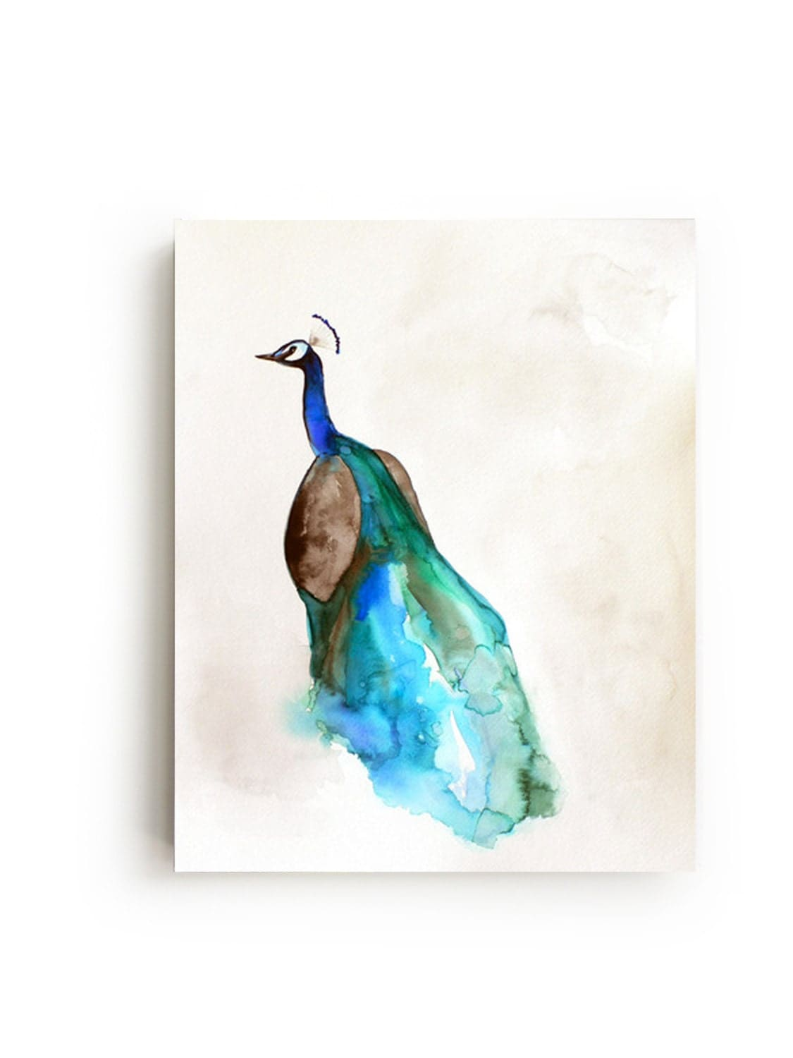 Peacock canvas print large wall art bright home by maiautumn for Peacock wall art