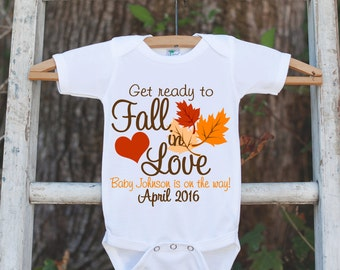 Pregnancy Announcement Onepiece - Baby Is On The Way - Pregnancy Reveal Idea - Personalized with Name and Date - Get Ready To Fall In Love