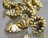 Antiqued Gold Cones Bead Caps 8mm 20 Pcs