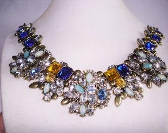 Topaz Sapphire Blue Rhinestone Necklace Gold Tone