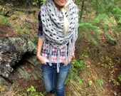 The Haiwee    Chunky Wool Grey Marble Oversized Triangle Scarf w/ Fringe Shawl Brown Black Flecks Fashion Hood Girl Wrap Accessory Crochet