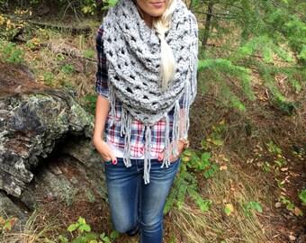 The Haiwee || Chunky Wool Grey Marble Oversized Triangle Scarf w/ Fringe Shawl Brown Black Flecks Fashion Hood Girl Wrap Accessory Crochet