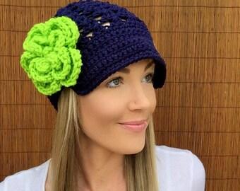 Seattle Seahawks Navy Blue Cap w/ Visor & Lime Green Detachable Flower Hawks Brim Crochet Football Accessory Hat Knit Accessories Beanie