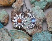 Sterling Silver Sunstone and Rainbow Moonstone Sun and Crescent Moon Pendant Necklace Day and Night