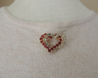 Red and Clear Pronged Rhinestone Double Heart Brooch. Valentine's Day Rhinestone Heart Shaped Pin