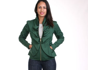 CLEARANCE SALE - Green Jacket, Ruffled Jacket, Fitted Blazer, Ruffled Front Jacket, Zip up Jacket, Black Ruffled Top, Wine Red Top - JASMINE