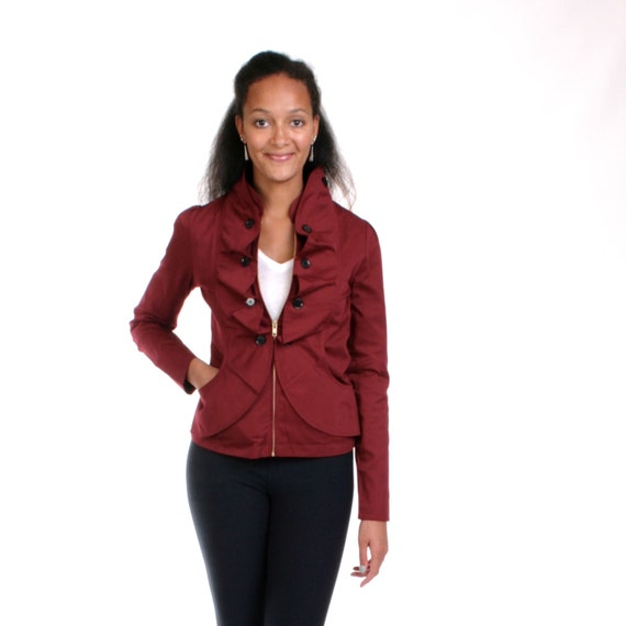 MOVING SALE - Wine Tailored Cotton Jacket, Ruffled Coat, Work Blazer, Ruffled Zip Up Jacket, Maroon Coat, Fitted, Womens Jacket - JASMINE