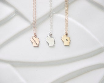 Hand Stamped Jewelry, Rose Gold Wisconsin State Necklace, State Charm Wisconsin Pendant, Small Charm, Heart Wisconsin, Personalized Charm