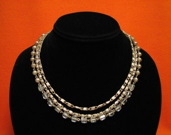Vintage Gold Tone Triple Strand White Faux Pearl and Crystal Beaded Myriad Chain Choker Necklace