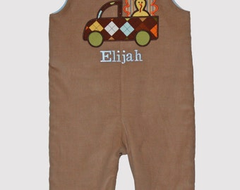 Custom Boutique Tan Corduroy Turkey Longall, Thanksgiving Longall, Turkey Overall  Sizes - Name included